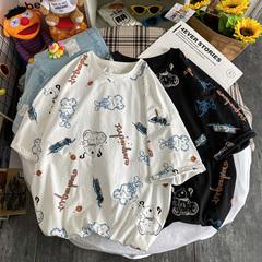 2021夏装新款港风短袖T恤男满印小熊宽松大码汗衫青春T803-P38