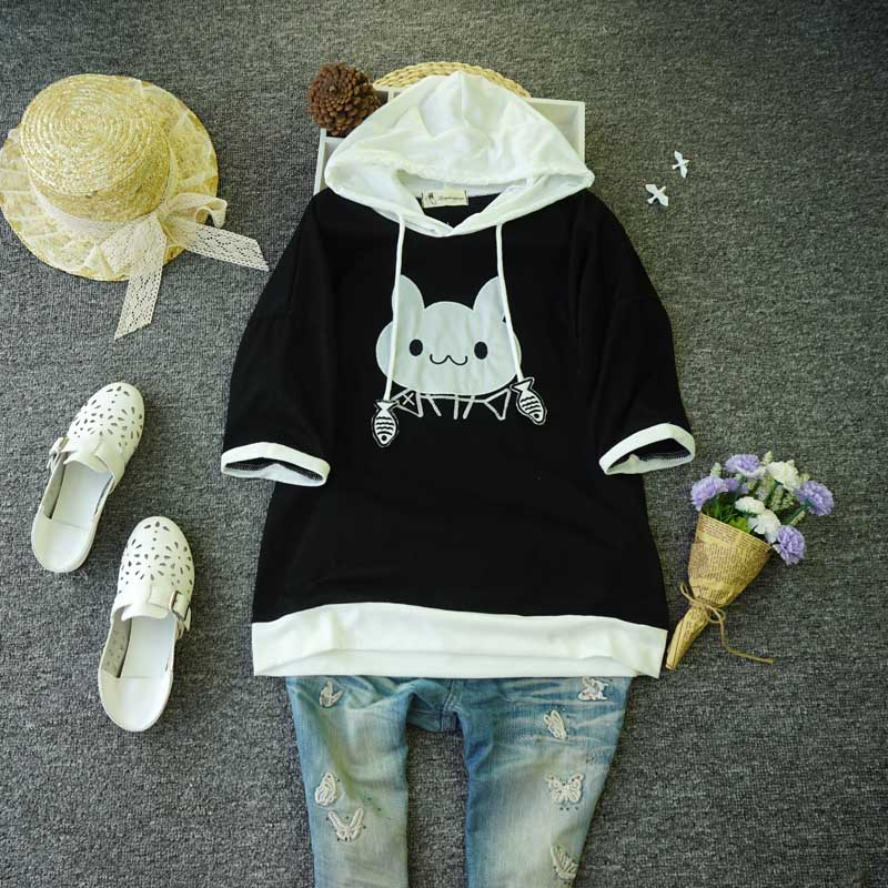 Short sleeve T-shirt womens loose Korean hooded T-shirt student casual versatile kitten pattern patch embroidery top