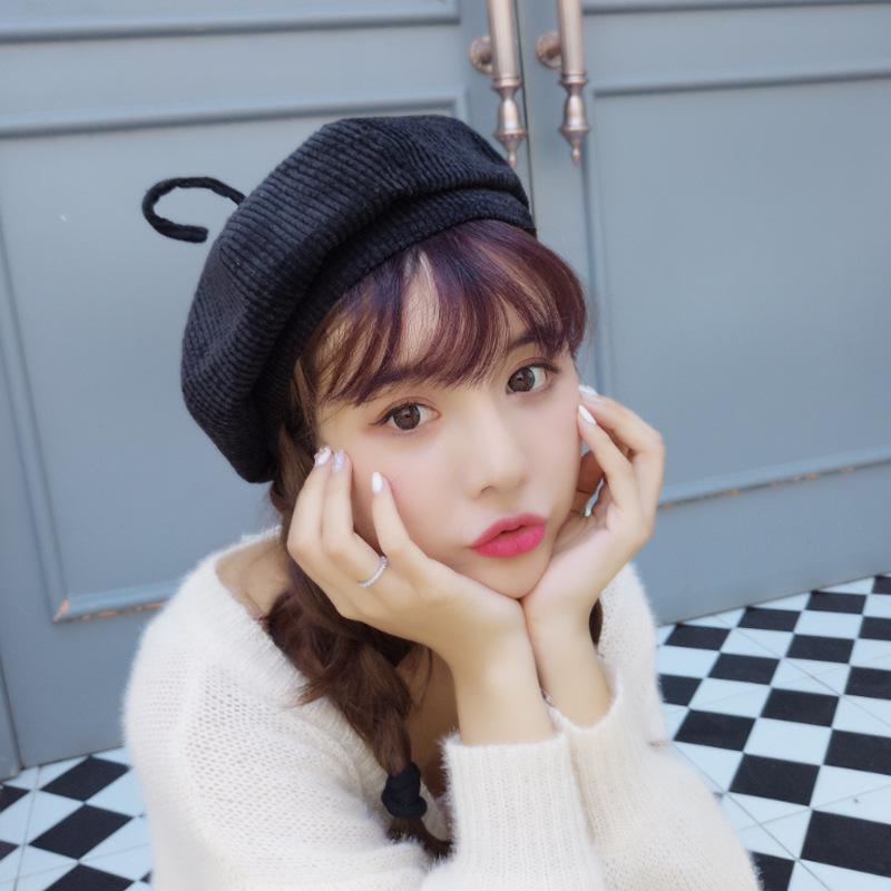 Pure Wool Women Knit Beret Winter Warm Female British Style Painter Bonnet Hats