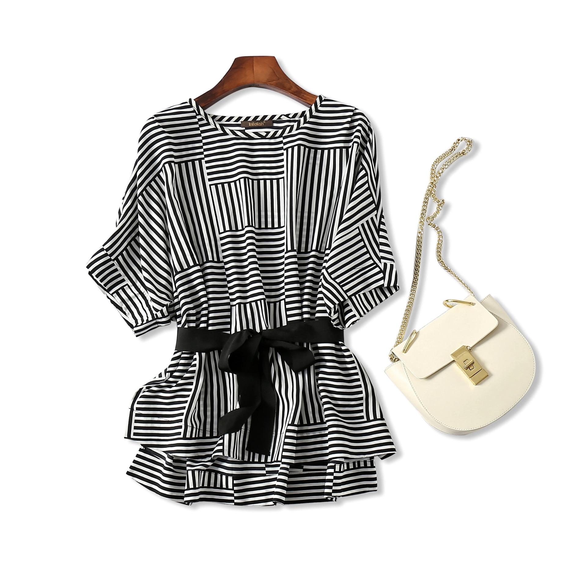 18夏欧美外贸女装尾单清仓剪标 不规则条纹 蝙蝠袖系带衬衫上衣女