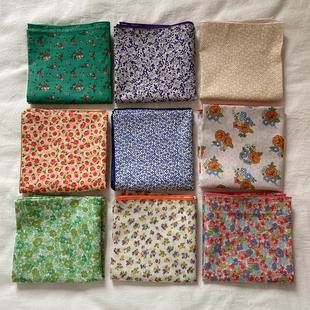 你想找的小碎花方巾ins头巾2021春夏新款胭蓝自制纯棉印花领巾女