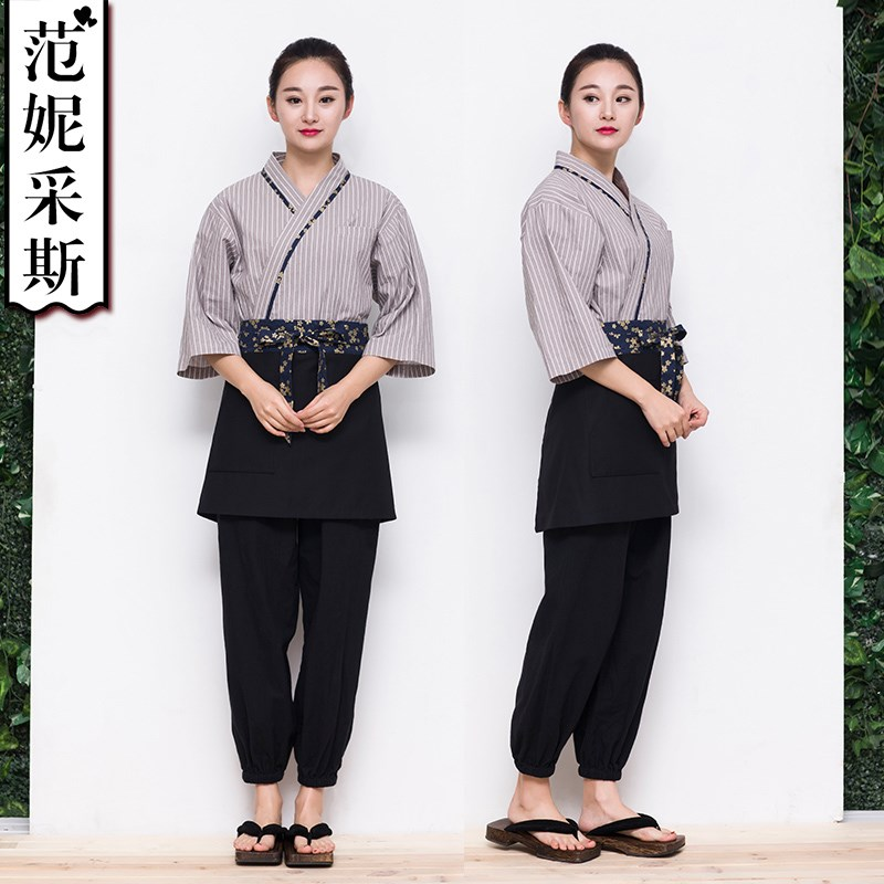 Fannies Japanese and kimono grey striped tops sushi waiters working clothes men and women