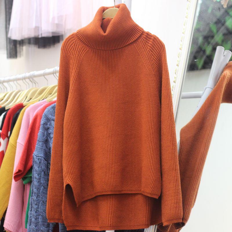 秋冬新款高领纯色前短后长宽松毛衣插肩袖加厚款套头上衣女针织