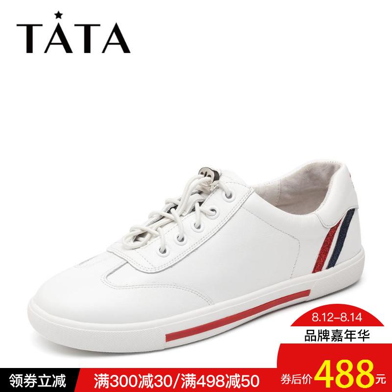 Tata/他她2018秋�9裢�款拼接小白鞋�l�y�\�优�休�e鞋FOF23CM8