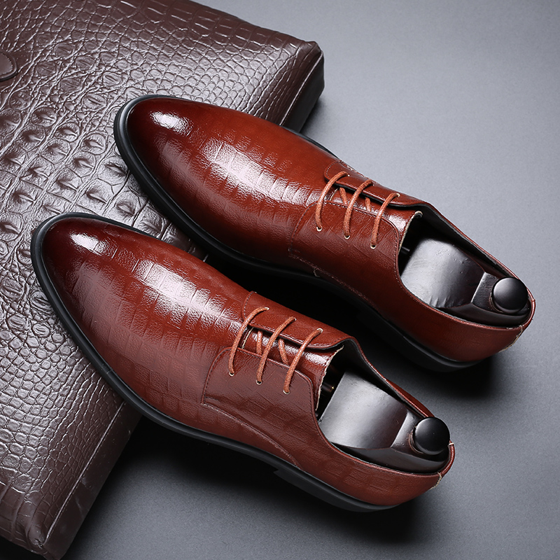 Mens leather shoes mens autumn breathable soft soled shoes with increased inner leather