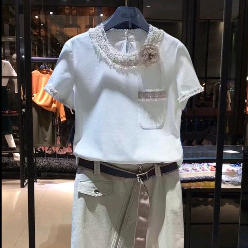 欧阿玛施旗2021夏新款白色圆领小香风花边短袖T恤上衣女修身ins潮