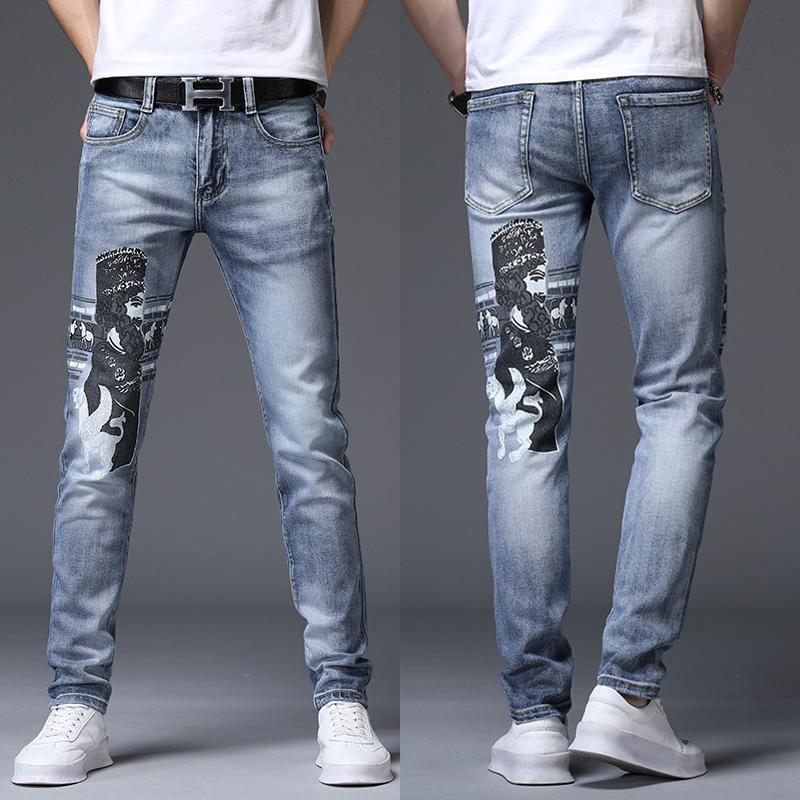弹力修身显瘦男士刺绣牛仔裤百搭头像印花个性涂鸦浅蓝小脚男长裤