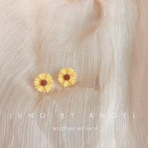 纯手工S925纯银小雏菊花耳钉女气质清新韩国时尚耳环耳饰学生可爱