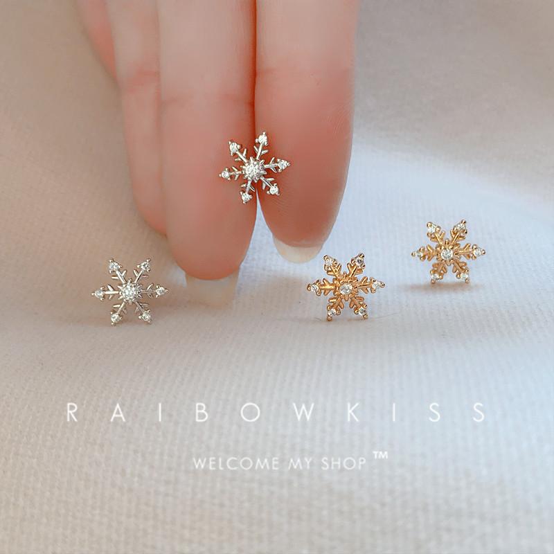 秋冬新款圣诞节礼物925纯银针圣诞雪花耳钉网红高级感耳环耳饰女图片