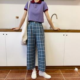 花田橱窗T043格子裤女2020新款韩版高腰宽松阔腿直筒八九分休闲裤图片