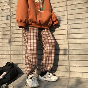 花田橱窗Y606格子裤2020新款春秋韩版宽松直筒束脚显瘦休闲裤子女
