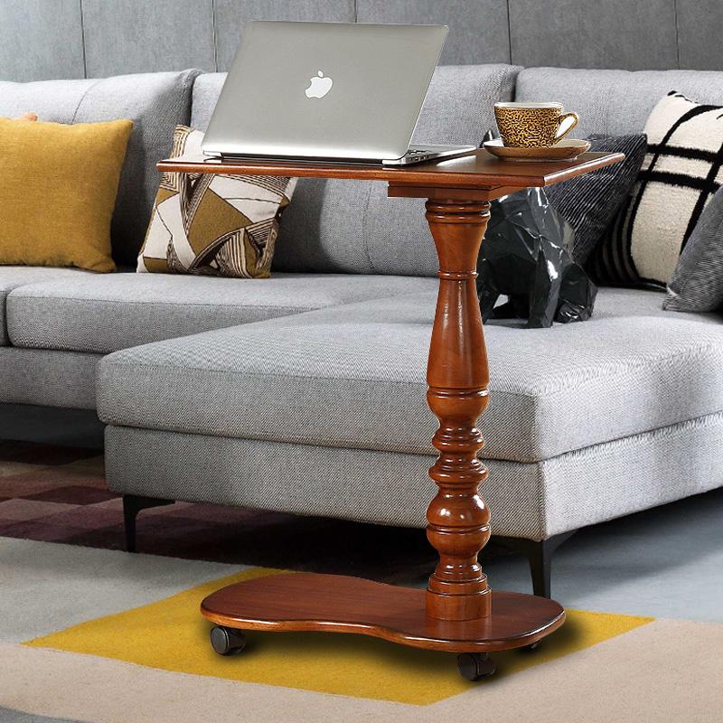 全实木可移动笔记本电脑桌床边懒人书桌沙发边小茶几店铺小桌子
