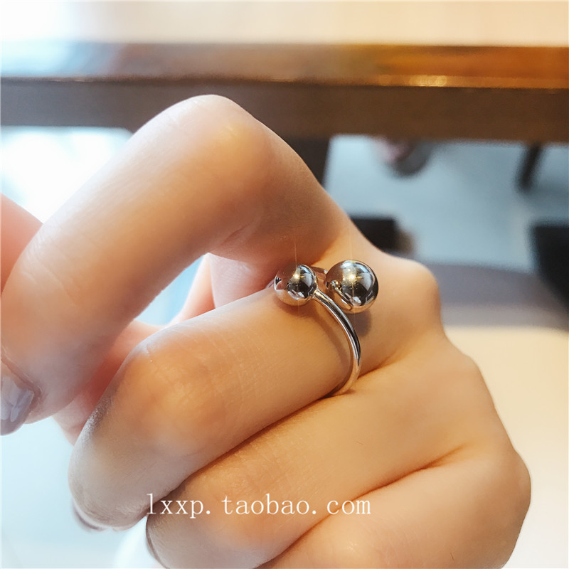 Korean S925 sterling silver fashion personality minimalist cool wind geometric bead mouth food ring womens jewelry package mail