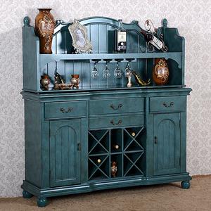 美式复古餐边柜一体靠墙客厅酒柜