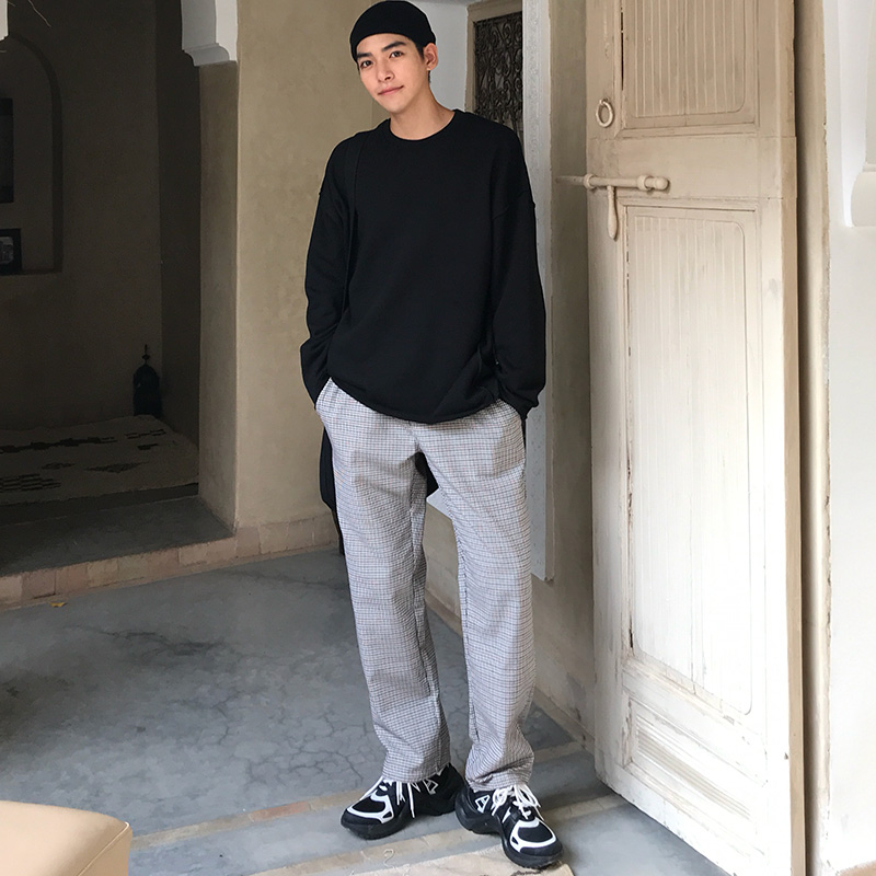 Spring Korean version of fine grid simple student personalized casual pants trend loose and versatile pants man