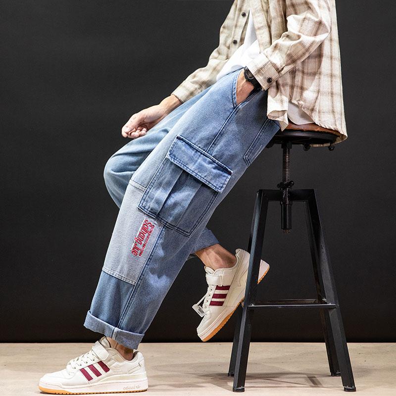 日系黑墙潮流口袋装饰休闲系绳直筒牛仔裤 款号K8140 P55【控78】