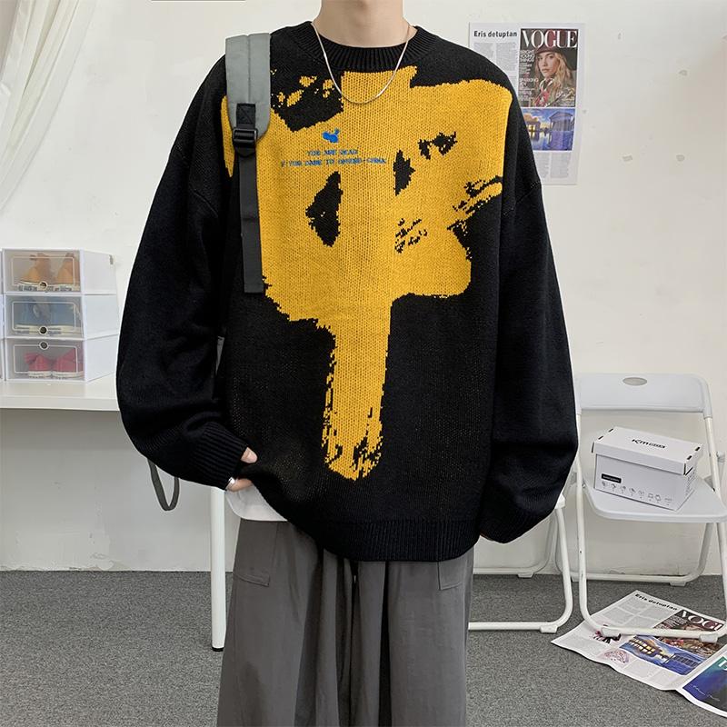 港风模特秋冬圆领男毛衣套头针织休闲印花 款号Z0112 P60【控88】