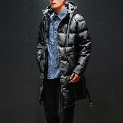 M705马切达冬季大码宽松中长款皮衣连帽棉衣男保暖P200【控278】