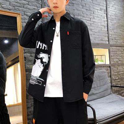 2019秋季新款日系店主风原创爆款猫咪印花大码男佳乐衬衫C519-P45
