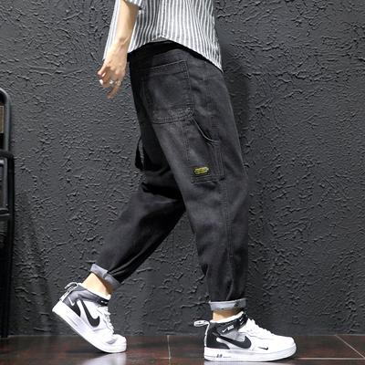 2019夏季新款日系休闲大码男原创潮牌九分裤哈伦裤牛仔裤K005-P65