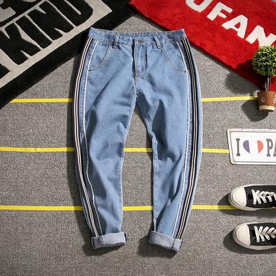 K092 秋季新款男日系彩色布条竖条纹牛仔裤加大码【不低于69】P55