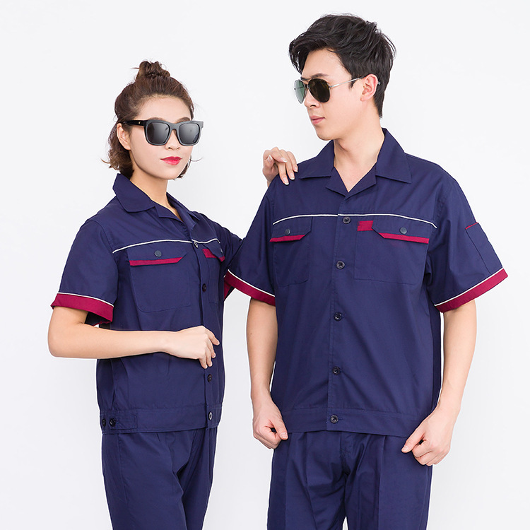 Season mens and womens labor protection work clothes maintenance work suit elevator electrician half sleeve uniform process department property Summer Hotel day