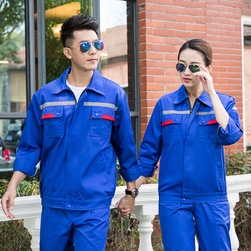 Customized work uniform anti static hotel electrical maintenance engineering department work uniform long sleeve suit steam printing embroidery logo