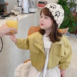 女童皮衣外套黄色春秋休闲短款上衣中小童网红洋气机车服PU皮夹克