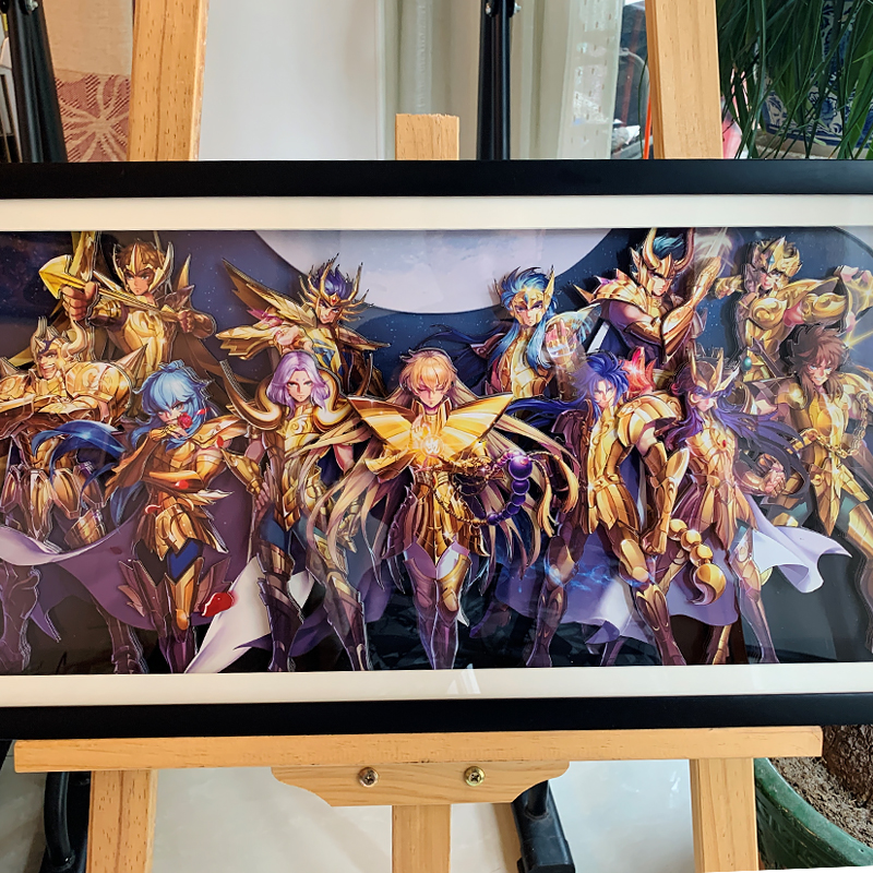 手工裁切客厅黄金十二宫装饰画圣斗士星矢黄金圣斗士立体画
