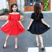 女童连衣裙夏装新款小女孩一字肩公主裙中大童洋气泡泡袖露肩裙子
