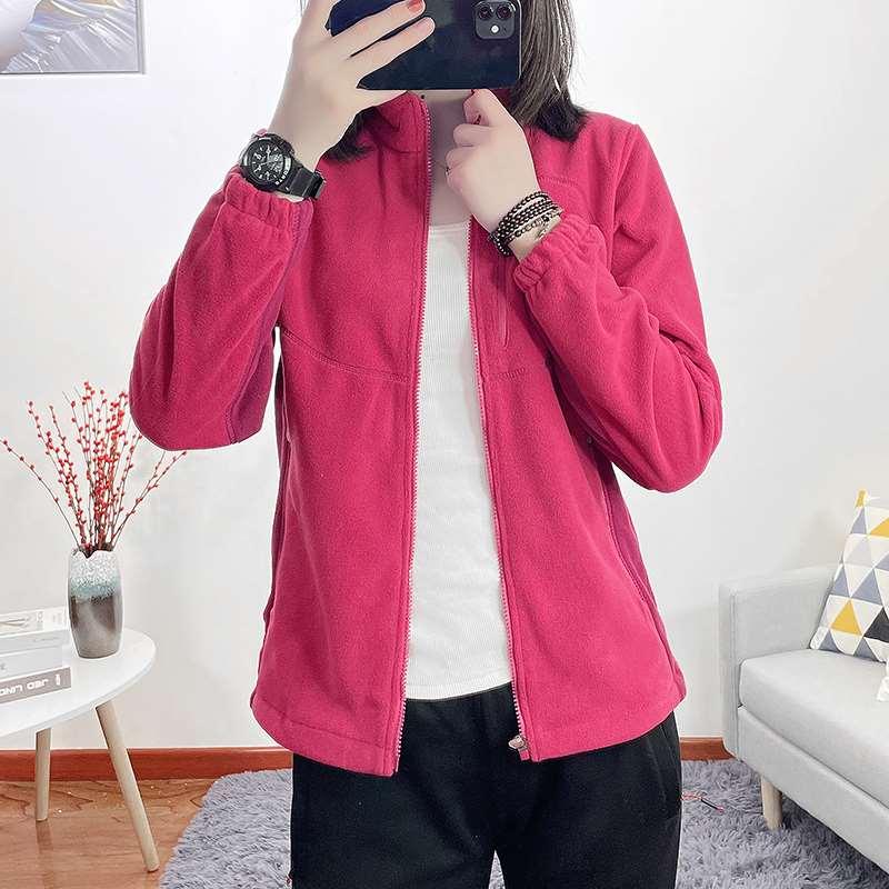 Outdoor products new womens cardigan Fleece Jacket warm and breathable double side fleece hiking jacket