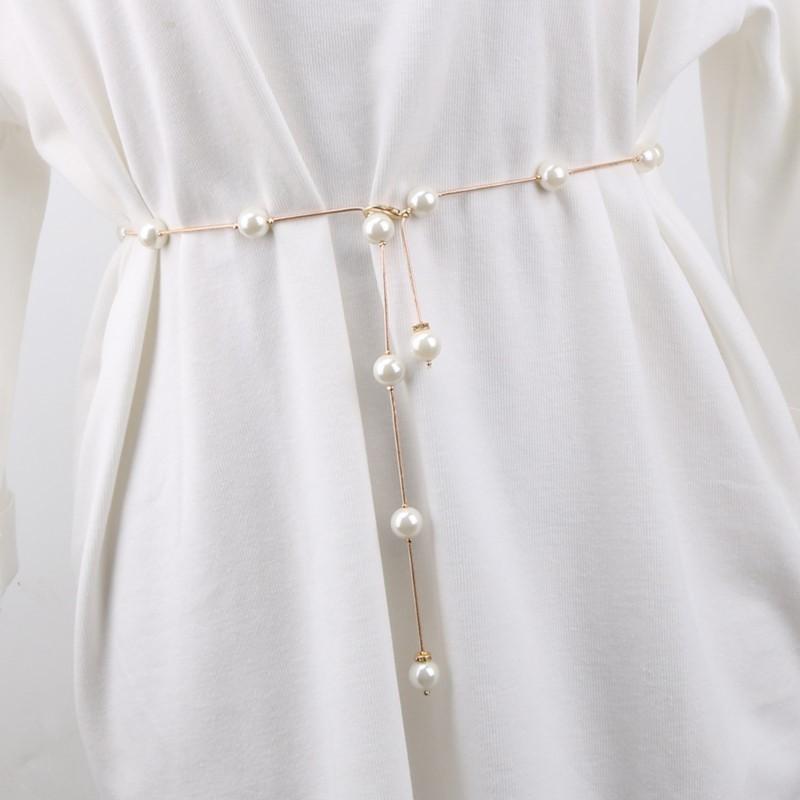 タオバオ仕入れ代行-ibuy99|长大衣女|珍珠腰带长款腰链子女装饰配大衣的装饰细百搭配连衣裙水钻镶嵌