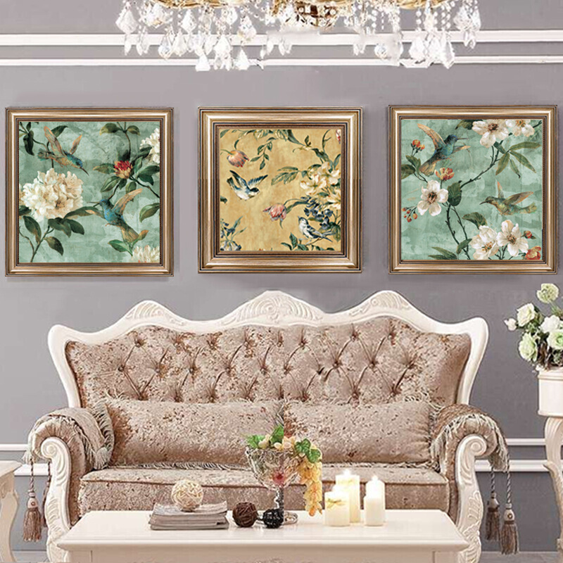 欧式客厅装饰画现代简约沙发背景墙挂画壁画墙面有框画无框画 花