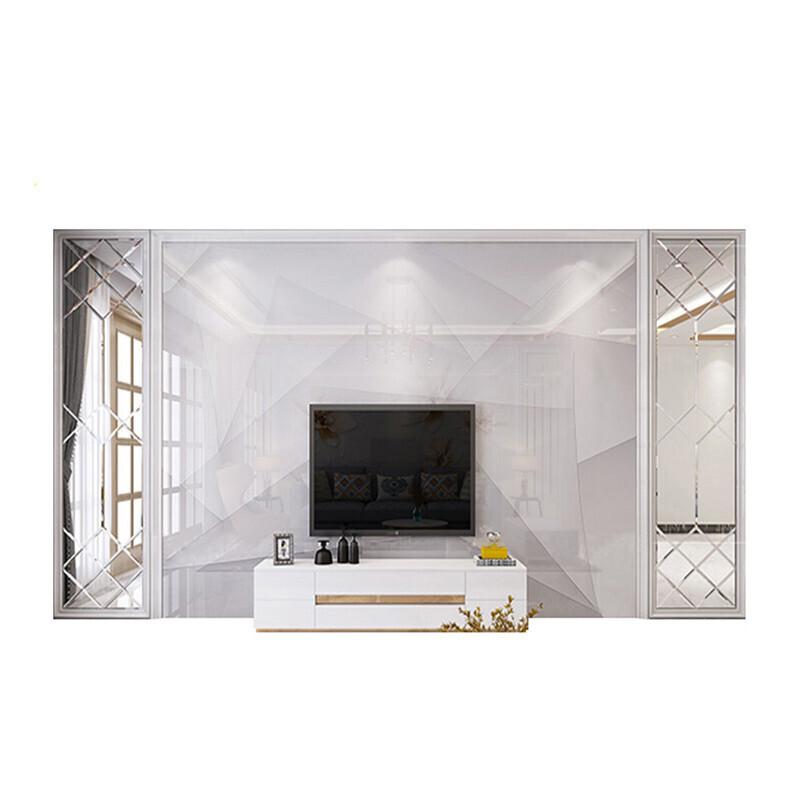 大理石电视背景墙瓷砖3d立体影视墙砖大气玻璃茶镜边框微晶石腰线