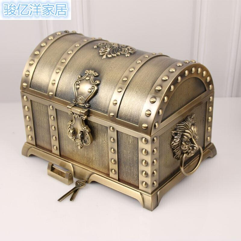 欧式复古金属工艺带锁首饰盒创意海盗宝箱珠宝盒饰品收纳盒礼品盒