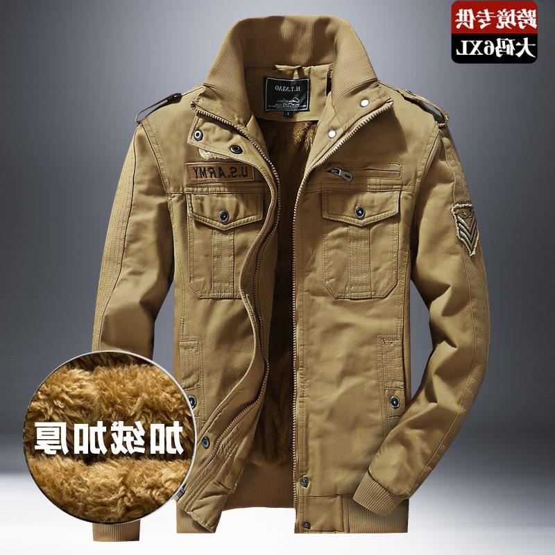 2020 cross border winter plush and thickened large size tooling jacket Multi Pocket casual mens jacket