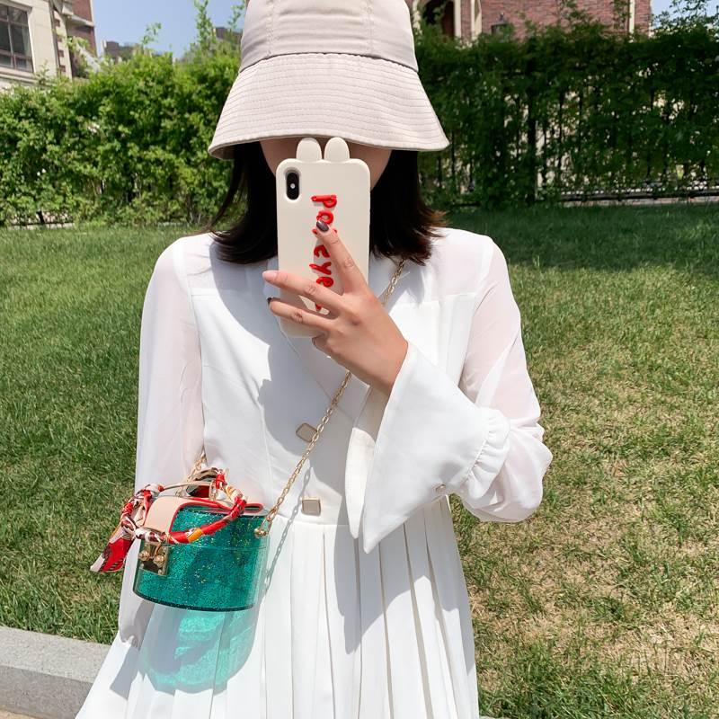 2020新款时尚百搭纯透明色丝带圆环手挽手提包化妆包收纳包小圆包