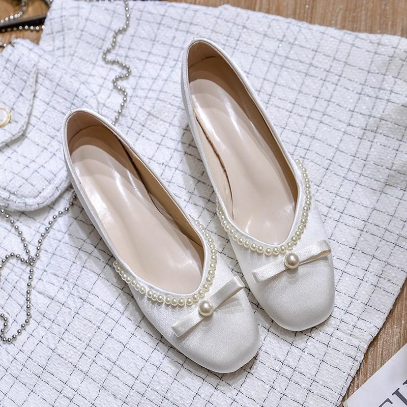 毛毛鞋女冬外穿真丝绸缎珍珠鞋2020新款中跟高跟鞋加绒粗跟单鞋女