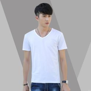 男装圆领休闲短袖男式纯色新款t恤男衣男士潮流打底衫纯白色抢购