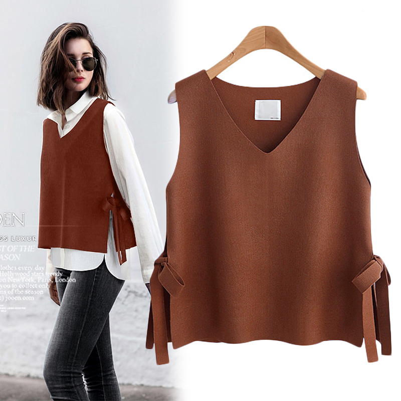 Spring and autumn knitted waistcoat, womens waistcoat, sleeveless sweater, versatile short V-neck, Korean pure wool jacket, loose and fashionable