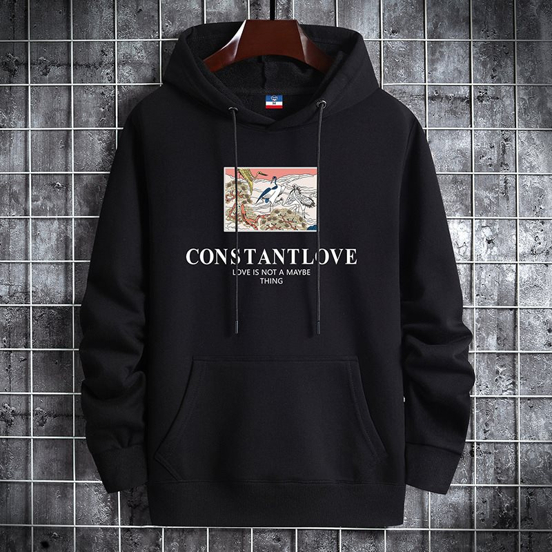 Young mens thin Hoodie sweater youth fashion leisure hooded mens coat with crane pattern printing