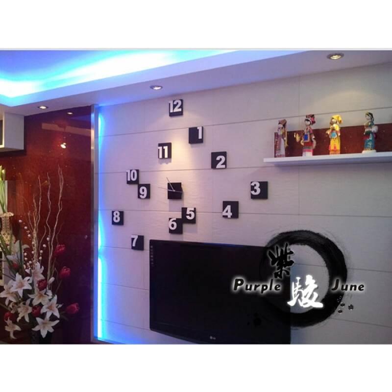 DIY creative black and white square digital block TV background wall sticker combination clock silent wall clock wall clock black background