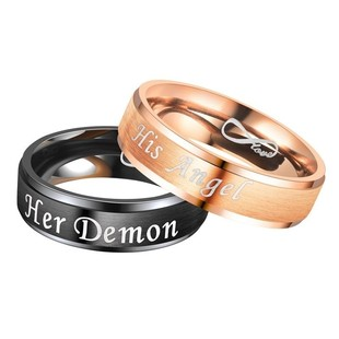 Her demon his angel eternal love angel and devil couple ring