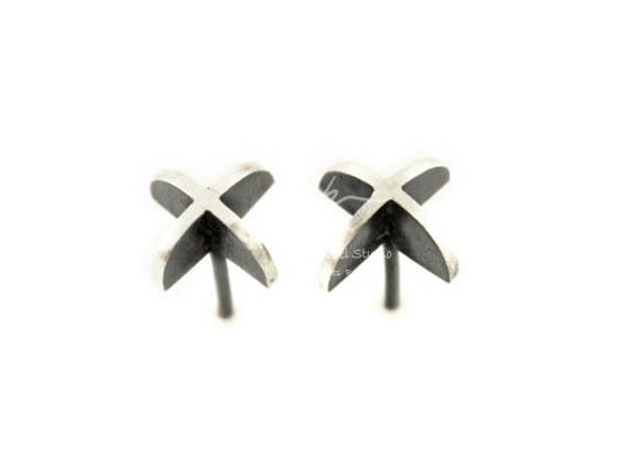 99 Silver Plain Silver original creative simple 3D geometry earrings earrings European and American style
