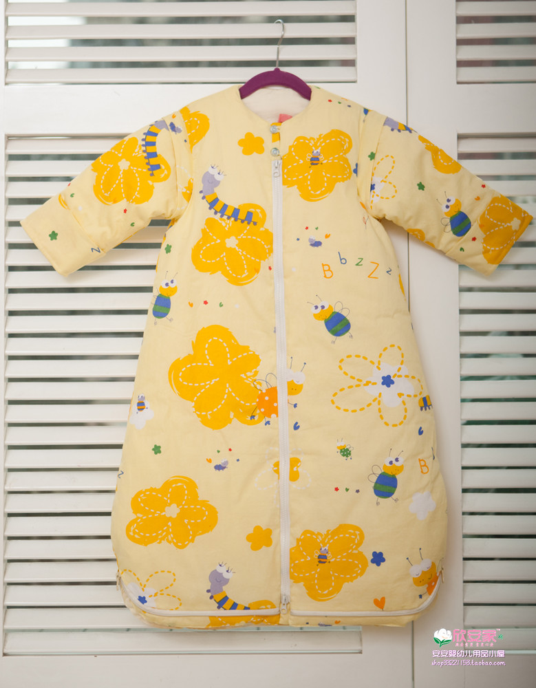 Xinan family spring and autumn winter round neck sleeved sleeping bag handmade cotton detachable baby sleeping bag package mail