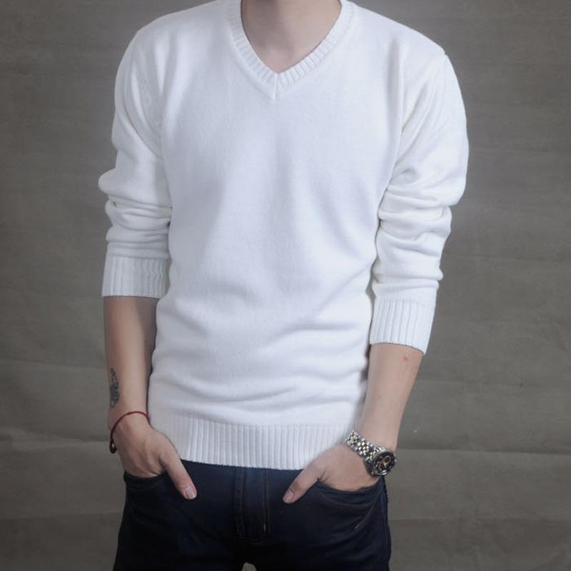 Электронная почта Весна мужской новый корейской версии тонкий хлопок свитер v шеи свитер мужчин свитер джемпер мигает белый