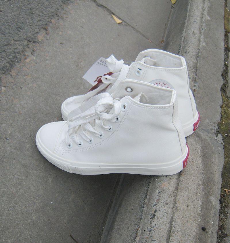 Леви Levis в мужчин и женщин пара внешней торговли основных Hi белый холст обувь Обувь PU кожаные ботинки волны