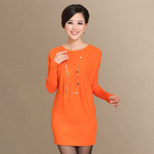 2014 spring new Korean Women long sections round neck bat sleeve knit sweater OL wool dress Specials