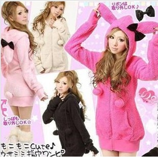 Princess Spring 2014 new Japanese high school students dress VIVI rabbit ears hooded sweater coat cashmere sisters