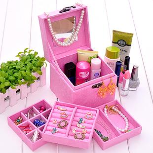 Специальная Принцесса-стиль три слоя ткани деревянные украшения box   box ювелирные изделия Браслеты Оптовая косметические коробки ювелирных изделий Коробки  